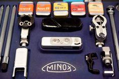 OBERHAUSEN.- A Minox mini camera is pictured in the Spy Museum in the western German city of Oberhausen on April 21, 2015. AFP PHOTO / PATRIK STOLLARZ