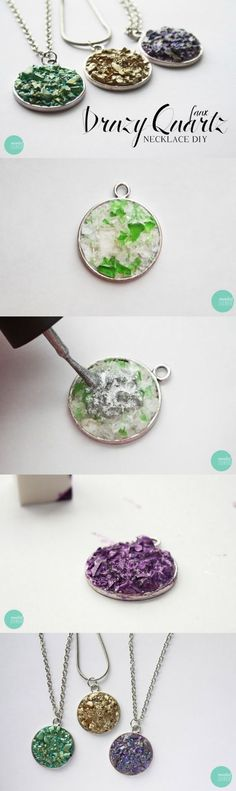Have you heard of druzy jewelry? This faux druzy quartz necklace DIY is SO easy - you won't believe what it's made out of! Great gift idea and you can make several at once.: