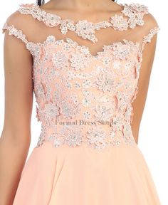 Formal Prom Dress With Floral Bodice
