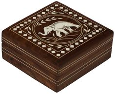"""Bulk Wholesale 5"""" Handmade Square Shaped Wooden Jewelry Box / Trinket Box Designed with an Elephant Motif in Acrylic Inlay Art on the Hinged Top Cover – Decorative Keepsake Boxes – Dresser Accessories"""
