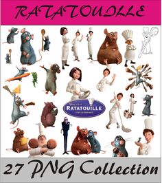 Ratatouille Collection PNG Vector Instant Download Disney Clipart Digital Albums Magnets Collage Greeting Sticker Printable Party Items by SlavGraphics on Etsy