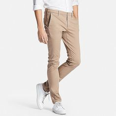 These dressy chinos look great paired with a jacket. The slim-fit design is sleek and stylish, great for neat, clean looks. Stretch material allows easy movement despite the slender cut. Stretch Chinos, Uniqlo, New Outfits, Looks Great, Khaki Pants, Tights, Trousers, Skinny, Legs