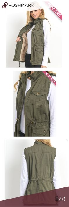 """💕JUST IN: Faux fur lined Utility Vest Olive utility vest with faux fur lining. Plenty of pockets, drawstring at waist, zipper and snap closure buttons. Lightweight and easy to wear with changing weather. Great layering staple for fall/winter.   Measurements taken laying flat.   Please note measurements taken with vest zipped up and buttoned.   1X: Bust: 22"""". Length: 27.5"""". 2X: Bust: 23"""". Length: 28.5"""". 3X: Bust: 24"""". Length: 29"""". Jackets & Coats Vests"""