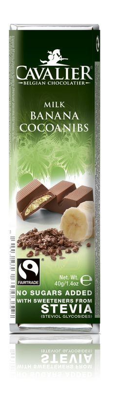 Bar with sweeteners from Stevia, milk chocolate with banana filling and cocoanibs. Cavalier the pioneer in no sugars added chocolate.