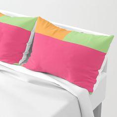Pink, Green and Orange Pillow Sham