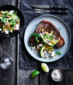 T-bones with pickled chilli, corn and avocado recipe :: Gourmet Traveller