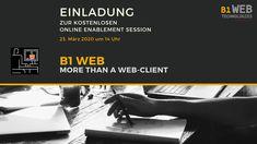 ▶ Einladung zur kostenlosen Marketing und Sales Enablement Session. 📅 🗓Am 23. März 2020 um 🕛 14:00 Uhr lernen Sie die Einsatzmöglichkeiten und Potenziale des #B1 #WEBClient für #SAPBusinessOne online kennen.