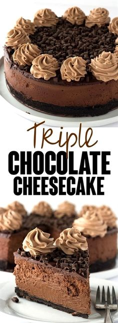 Decadent Triple Chocolate – I'm taking this cheesecake to the next level just for my chocolate lovers! There's a chocolate oreo crust, rich chocolate cheesecake filling and topped with a milk chocolate ganache, chocolate whipped cream and chocolate curls! Triple Chocolate Cheesecake, Milk Chocolate Ganache, Chocolate Whipped Cream, Chocolate Oreo, Chocolate Curls, Chocolate Desserts, Chocolate Lovers, Whipped Ganache, Chocolate Candies
