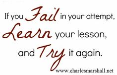 Quote about failure from motivational speaker Charles Marshall. www.charlesmarshall.net