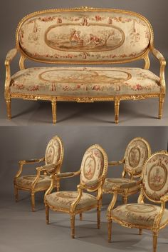Salon Set in Gilt Wood - Louis XVI Style, Napoleon III Period