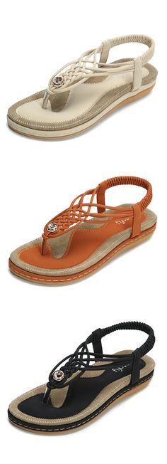 5cc558542 Socofy Handmade Knitting Clip Toe Elastic Flat Sandals is comfortable to  wear. Shop on NewChic to see other cheap women sandals on sale.