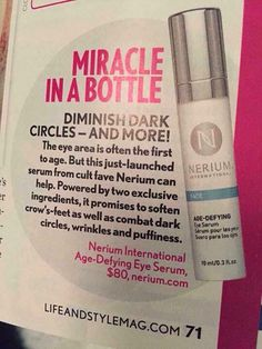 More free advertising for Nerium! Eye serum is a miracle in the bottle
