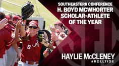A year after being named the Softball Academic All-American of the Year, University of Alabama senior Haylie McCleney has been named the 2015-16 Southeastern Conference H. Boyd McWhorter Female Scholar-Athlete of the Year, SEC Commissioner Greg Sankey announced Thursday.