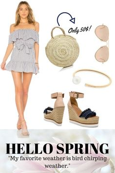 a05c18c2eed Get ready for spring with a blue check dress and some nude and denim wedges.