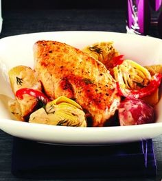 Creamy Lemon Chicken with Potatoes & Artichokes