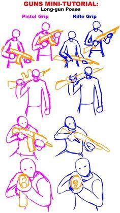 Drawing Techniques Guns Tutorial: Long gun Poses by PhiTuS. Drawing Techniques, Drawing Tips, Drawing Sketches, Drawing Base, Figure Drawing, Poses References, Weapon Concept Art, 3d Drawings, Art Poses