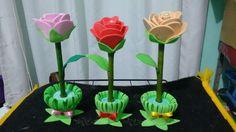 Canetas decoradas com Flores de E.V.A
