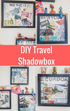DIY Travel Shadow Box Ideas To Preserve Your Memories, # Preserve # Erin . - DIY Travel Shadow Box ideas to keep your memories # keep - Shadow Box Diy, Travel Shadow Boxes, Travel Box, Shadow Box Frames, Ideas Scrapbook, Travel Scrapbook, Cadre Diy, Travel Crafts, Travel Diys