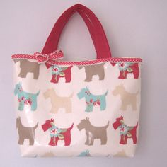 Handmade oil cloth Tote bag/handbag scottie dogs by dollywhatnot, £13.95