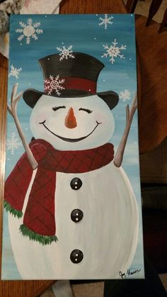 Snowman painting on canvas