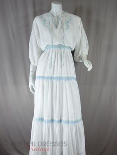 Vintage 1970s Maxi Dress With Light-Blue Smocking. Boho Wedding - sm, med by Better Dresses Vintage