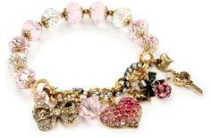 Amazon.com: Betsey Johnson Heart Multi-Charm Half Stretch Bracelet: Jewelry