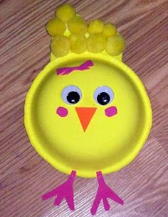 paper bowl chick: paper bowl, googly eyes (we will used paper or feathers rather than pompoms, probably pipe cleaners for feet)