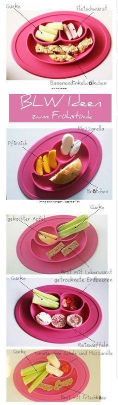 Sechs Ideen, wie man ein BLW-geeignetes Frühstück gestalten kann. BLW ist die vom Baby geführte Einführung von Beikost.