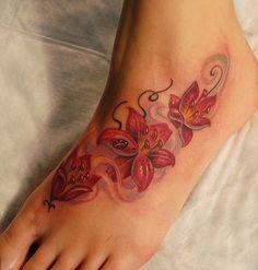 Red Tiger Lillies Foot Tattoo - Marvin Silva http://tattoosflower.com/red-tiger-lillies-foot-tattoo-marvin-silva/
