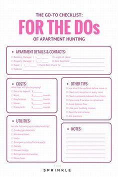 New Ideas Apartment Organization Diy Renting Check Lists