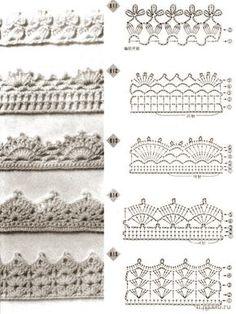 Crochet border. Spitzen häckeln. Puntillas ganchillo.                                                                                                                                                                                 Más