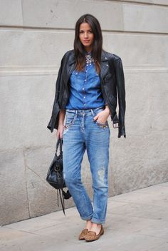 Denim, leather, loafers.