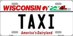 Taxi Wisconsin Background Novelty Metal License Plate