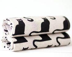 Nero gatto stampa asciugamani, regalo di amanti del gatto, strofinacci di lino con gatti di 2, divertente cucina asciugamani, regalo padrona di casa, Halloween decorazione della cucina
