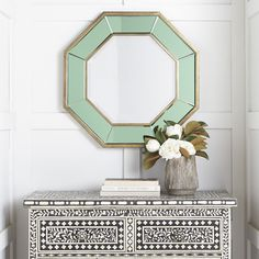 Add dimension to your space with the Sarcelle Glass Frame Octagon Mirror. This mirror has a geometric beveled glass edge, reflecting lighting for a more open space. Octagon Mirror, Porthole Mirror, Sunburst Mirror, Wood Mirror, Traditional Furniture, Round Mirrors, Beveled Glass, Venetian Mirrors, Home Accessories