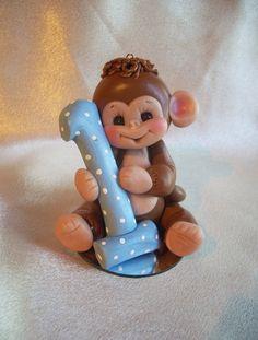 polymer clay monkey 1st  birthday cake topper
