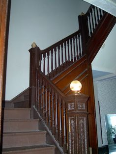Spiral Stairway Restored With Newel Post Lamp Craftsman Staircase Newel Posts Victorian Homes