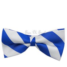 White & Blue Striped Silk Bow Tie; this is nice