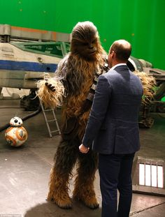 """Prince William, Duke Of Cambridge And Prince Harry Visit The """"Star Wars"""" Film Set at Pinewood studios in Iver Heath, west of London on April Prince Harry, Prince William And Harry, Star Wars I, Film Star Wars, Rian Johnson, Prince George Alexander Louis, John Boyega, Duke Of Cambridge, Star Wars Characters"""