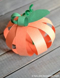 Strip Pumpkin Craft Super simple, quick and cheap paper strip pumpkin craft. Perfect for kids and the classroom. Use fancy scrapbook paper and it is perfect for grown ups too! Thanksgiving Crafts For Kids, Fall Crafts, Arts And Crafts, Pumpkin Crafts Kids, Quick Halloween Crafts, Spooky Halloween, Thanksgiving Decorations, Orange Paper, Crafts For Seniors