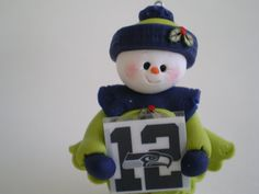 12th Man Seahawks Polymer Clay Snow Lady Ornament by HelensClayArt