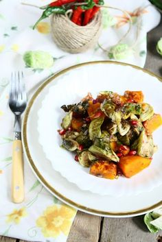 Roasted Pumpkin and Brussels Sprouts - Interesting combination, I'd like to try it!