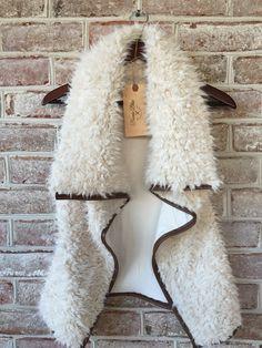 Monogrammed Faux Shearling Furry Vest Draped Collar Vegan Sherpa – Bonnie Blue