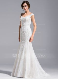 [US$ 346.99] Trumpet/Mermaid Off-the-Shoulder Sweep Train Lace Wedding Dress