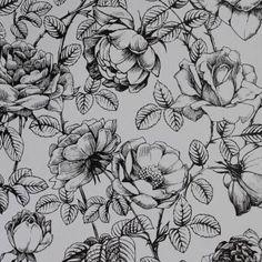 Papel de parede floral rosas em cores preto e branco 042