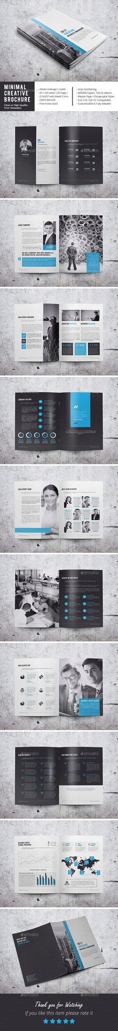 Minimal Corporate Brochure by adobemouad Minimal Corporate Brochure This InDesign Brochure is Clean & Porfessional. Create your company鈥檚 documentation quick and easy. Indesign Brochure Templates, Travel Brochure Template, Brochure Layout, Corporate Brochure, Business Brochure, Brochure Design, Branding Design, Book Design, Layout Design