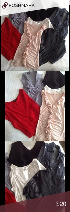 XS 7 Piece Express Bundle Pre loved with lots of life left! No flaws, normal wash wear. Denim style tank top is size S, all others are XS. Black 3/4 sleeve light sweater, pink and grey tank tops, red tank with chiffon overlay, ivory top and denim style tank. No trades. Bundle for discount. Make an offer! Express Tops