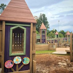 Yet another magical wooden playground. I love these so much. Katrina is finally starting to dig it too! #crawford_cub