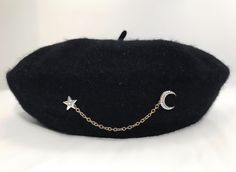 """Introducing our new personalized and handmade """"Star and the Moon"""" Beret by GEMS Apparel. """"Star and the Moon"""" Beret can be shaped to wear in different ways and can be pulled snugly over the ears for added warmth. Kawaii Fashion, Cute Fashion, Fashion Outfits, Estilo Lolita, Fashion Accessories, Hair Accessories, Accesorios Casual, Original Gifts, Slouchy Beanie"""