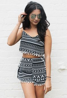 Aztec Print Pom Pom Crop Top & Shorts Co-ord Set in Black, Grey & White